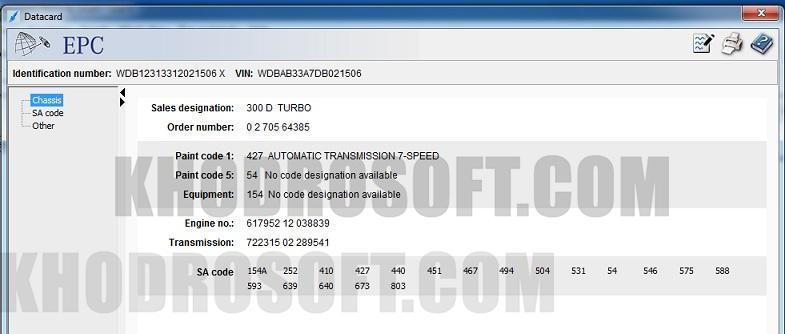 Mercedes benz Data Card شماره فنی قطعات بنز نرم افزار Mercedes Benz EPC datacard