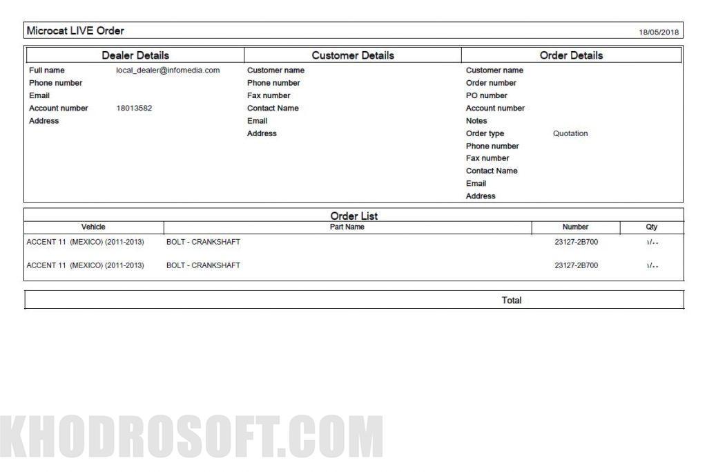 Microcat V6 Order List