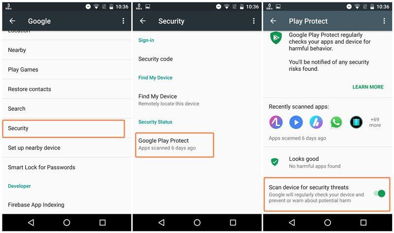 غیر فعال کردن سیستم امنیتی گوگل پلی