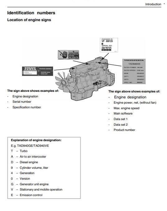 کتاب اصلی سرویس و اپراتوری موتور دیزل ژنراتور ولوو پنتا مدل VOLVO PENTA TAD941GE volvo Penta TAD941GE operators manual
