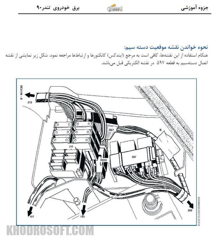 جزوه آموزشی برق خودروی تندر 90 ال 90 نحوه خواندن نقشه موقعیت دسته سیم خودروی تندر 90 ال 90